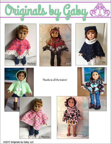 "60's Poncho & Hat 18"" Doll Clothes"