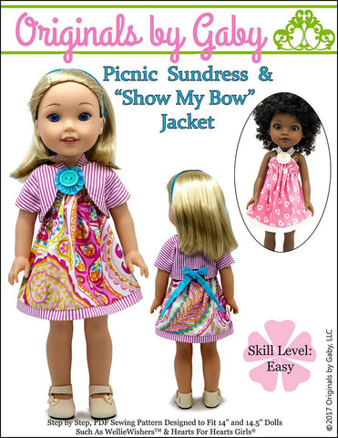 "Originals by Gaby WellieWishers Picnic Sundress & Show My Bow Jacket 14.5"" Doll Clothes Pattern Pixie Faire"