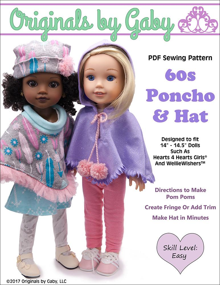 e077879eb Originals By Gaby 60's Poncho & Hat Doll Clothes Pattern ...