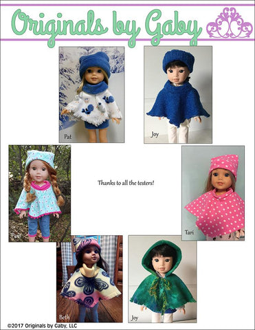 "60s Poncho & Hat 14-14.5"" Doll Clothes Pattern"