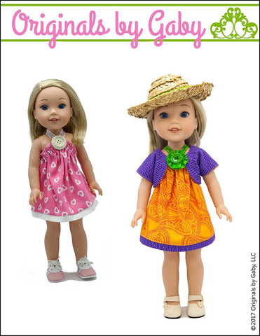"Picnic Sundress & Show My Bow Jacket 14.5"" Doll Clothes Pattern"