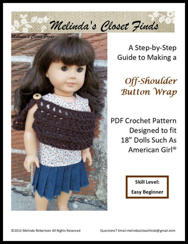 "Off-Shoulder Button Wrap 18"" Doll Crochet Pattern"