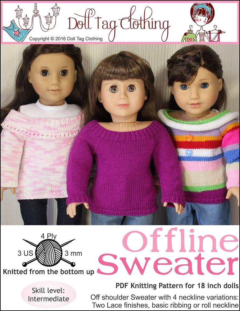 Doll Tag Clothing Offline Sweater Doll Clothes Pattern 18 Inch