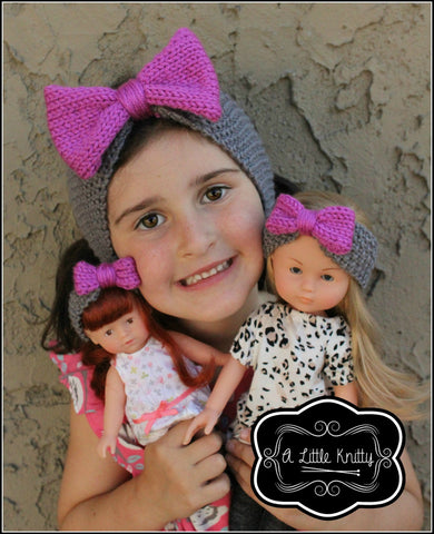 Olivia Earwarmer with Bow Pattern for Girls and Les Cheries Dolls