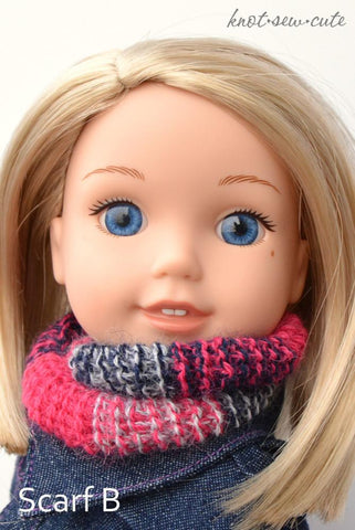 "Ombré Infinity Scarf Tunisian 14.5"" Doll  Clothes Crochet Pattern"