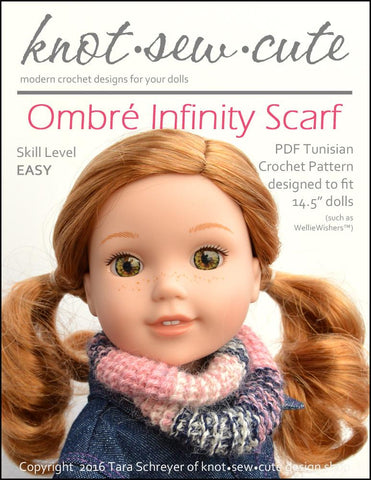 "Knot-Sew-Cute WellieWishers Ombré Infinity Scarf Tunisian 14.5"" Doll  Clothes Crochet Pattern Pixie Faire"