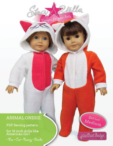 "Stacy and Stella 18 Inch Modern Animal Onesie 18"" Doll Clothes Pattern Pixie Faire"