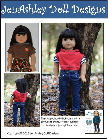 JenAshley Doll Design pdf doll clothes sewing pattern Outdoor concert cropped hoodie designed to fit 18 inch American girl dolls