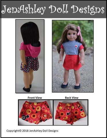 JenAshley Doll Design pdf doll clothes sewing pattern Outdoor concert skort designed to fit 18 inch American girl dolls