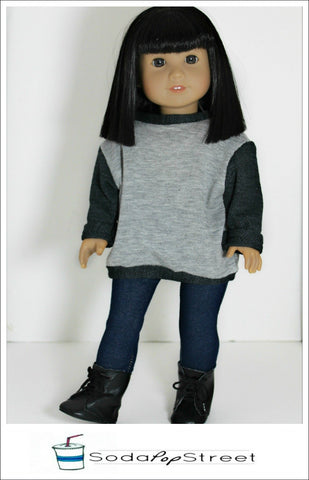 "Oversized Sweater 18"" Doll Clothes Pattern"