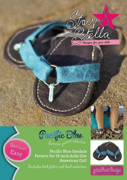 Pacific Blue Sandals 18 Inch Doll Shoes Pattern Pdf