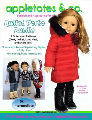 "Quilted Parka Bundle 18"" Doll Clothes Pattern"