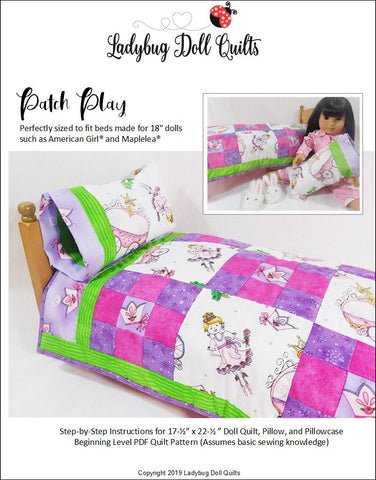 "Ladybug Doll Quilts Free Quilt Patch Play 18"" Doll Quilt Pattern Pixie Faire"