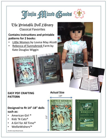 "Little Women and Rebecca of Sunnybrook Farm Printable Books 14-18"" Doll Accessories"