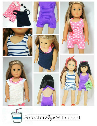 "Penelope Swimsuit and Wrapped Cover Up 18"" Doll Clothes"