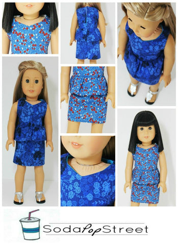 "Peplum Dress 18"" Doll Clothes Pattern"