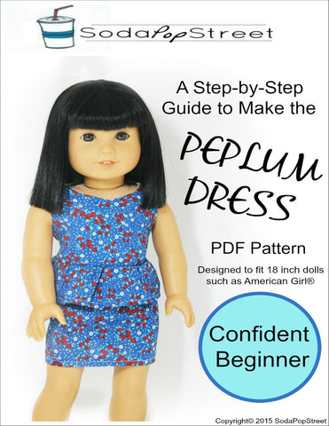 "Peplum Dress 18"" Doll Clothes"