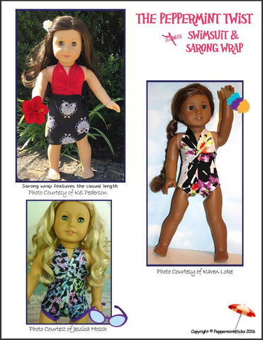 "The Peppermint Twist Swimsuit & Sarong Wrap 18"" Doll Clothes"