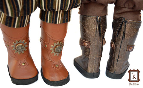 "Steampunk Pirate Boots 18"" Doll Shoes"
