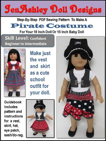 "Pirate  Costume 18"" Doll Clothes"