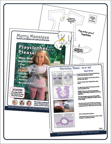 Merry Manatees Mini Playclothes, Please! Pattern For Mini Dolls Pixie Faire