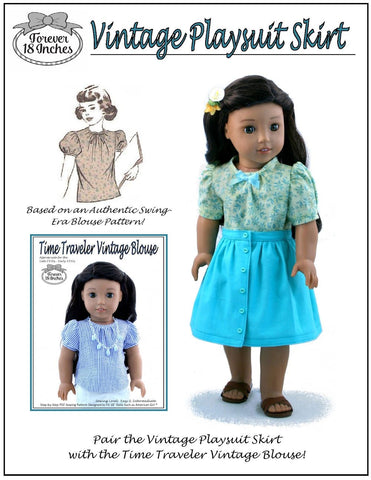 "Vintage Playsuit Skirt 18"" Doll Clothes Pattern"