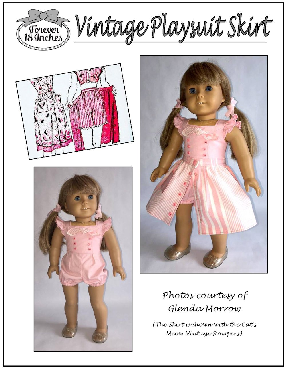b241abc400 Forever 18 Inches Vintage Playsuit Skirt Doll Clothes Pattern 18 ...