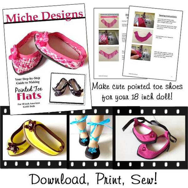 Pointed Toe Flats 18 Inch Doll Shoes Pattern PDF Download