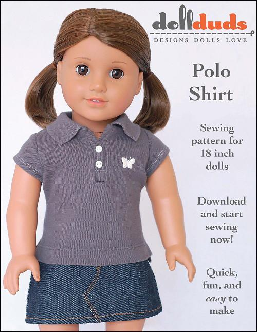Liberty Jane Free Polo Shirt Doll Clothes Pattern 18 Inch American