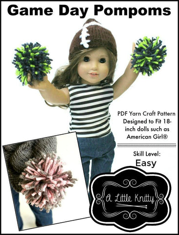 "A Little Knitty 18 Inch Modern FREE Game Day Pompoms 18"" Doll Accessories Pixie Faire"