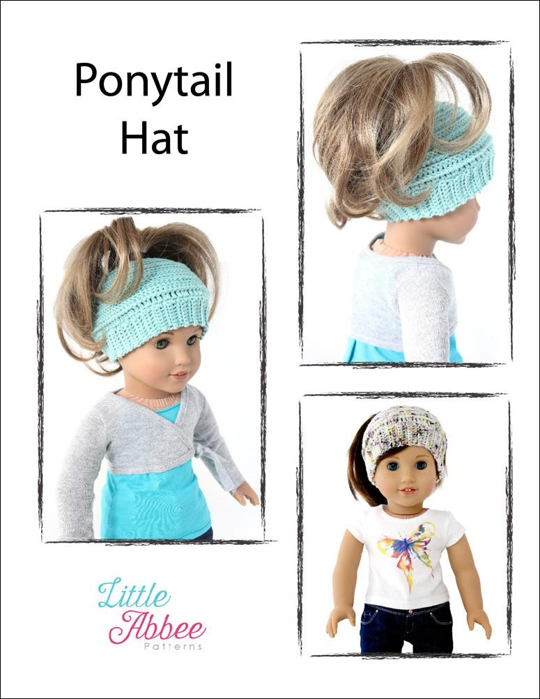 e50a68d15b1 Little Abbee Ponytail Hat Doll Clothes Crochet Pattern 18 inch ...