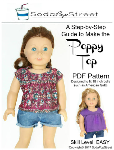 "Poppy Top 18"" Doll Clothes Pattern"