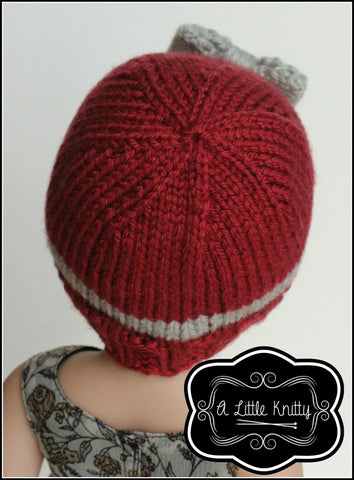 "Portia Bow Hat Knitting Pattern for Girls and 14-16"" Dolls"