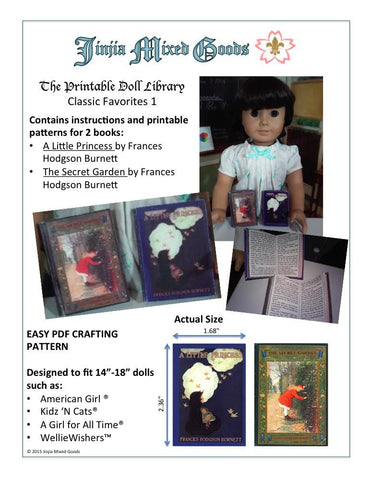 "A Little Princess & The Secret Garden Printable Books 14-18"" Doll Accessories"