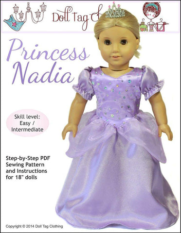 "Princess Nadia 18"" Doll Clothes Pattern"