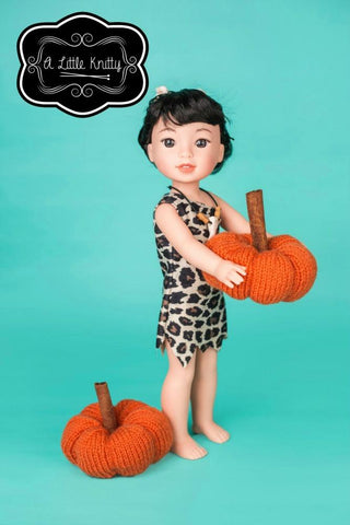 pdf knitting pattern A little knitty pumpkin for 13 - 18 inch dolls such as American Girl
