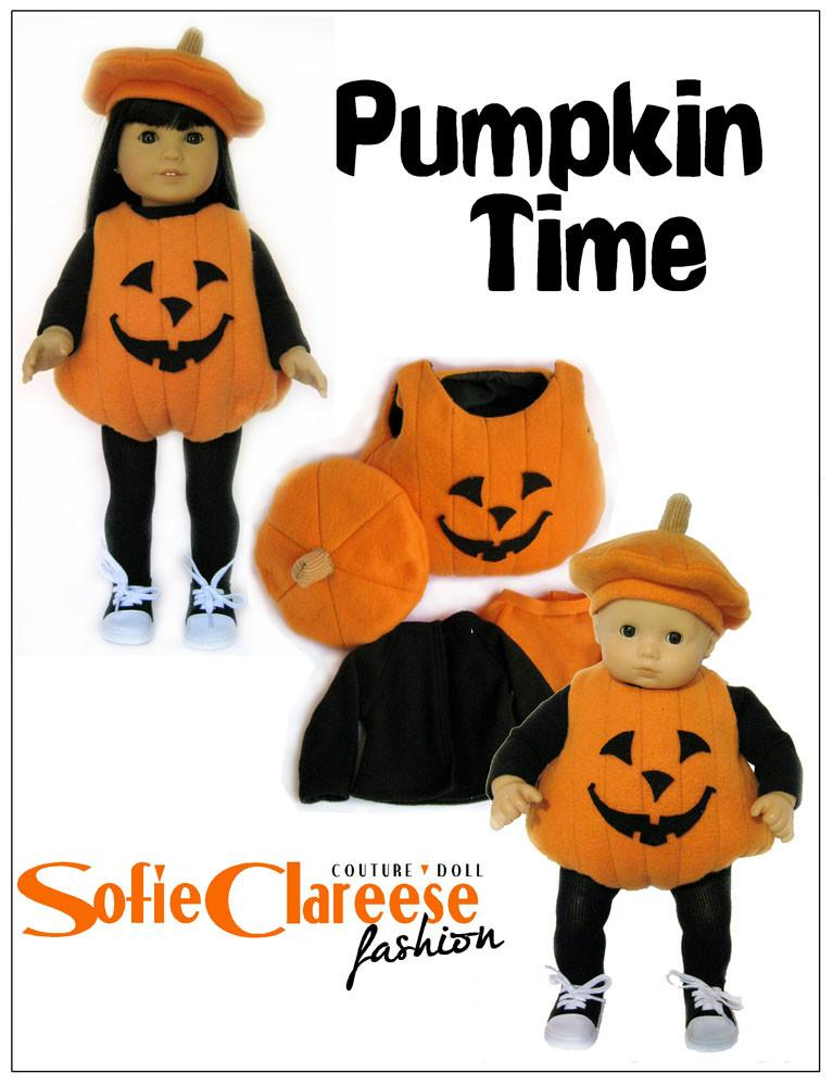 Lilu0027 Pumpkin Costume 15  and 18  Doll Clothes Pattern  sc 1 st  Pixie Faire & Sofie Clareese Fashion Lilu0027 Pumpkin Costume Doll Clothes Pattern 15 ...