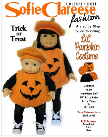 "Lil' Pumpkin Costume 15"" and 18"" Doll Clothes"