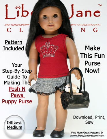 "Liberty Jane 18 Inch Modern Puppy Purse 18"" Doll Accessories Pixie Faire"