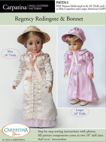 "1810's Regency Redingote and Bonett Multi-sized Pattern for Regular and Slim 18"" Dolls"