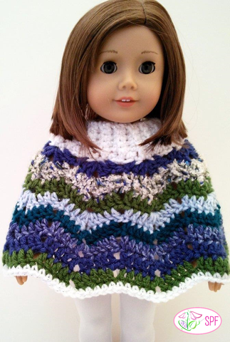 Ribbed Neck Ripple Poncho and Hat Crochet Pattern