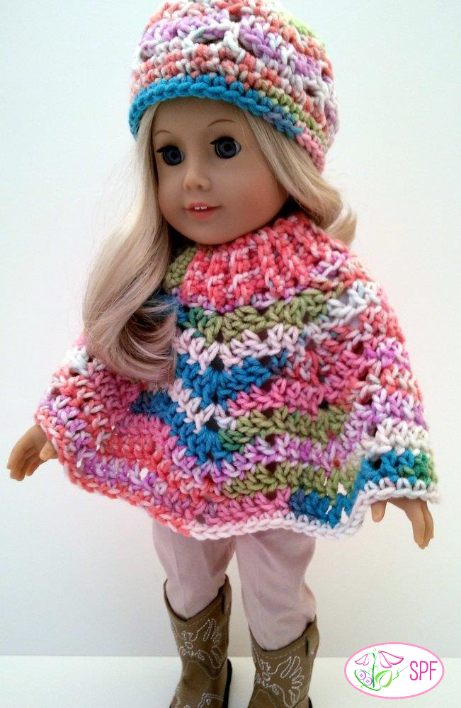 Sweet Pea Fashions Ribbed Neck Ripple Poncho And Hat Doll Clothes