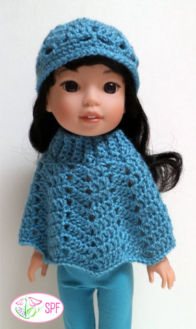 "Ribbed Neck Ripple Poncho and Hat Crochet Pattern for 14-14.5"" Dolls"