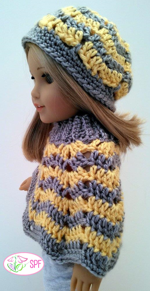 Sweet Pea Fashions Ribbed Neck Ripple Poncho And Hat Doll