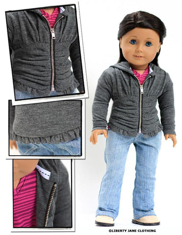 "Ruched Hoodie 18"" Doll Clothes Pattern"