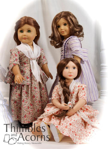 "1770 Sacque Back Gown and Caraco Jacket 18"" Doll Clothes Pattern"