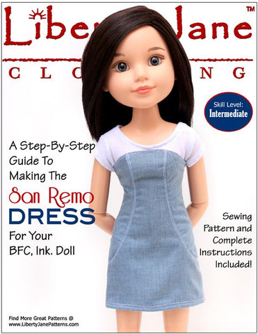 San Remo Dress Pattern for BFC, Ink. Dolls