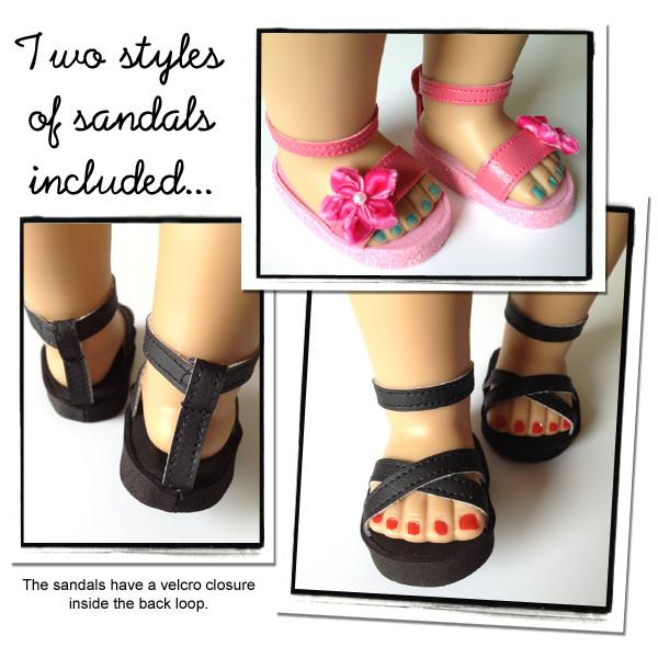 Strappy Sandals 18 Inch Doll Shoes Pattern PDF Download