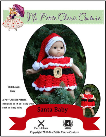 "Santa Baby Crochet Pattern for 15"" Baby Dolls"