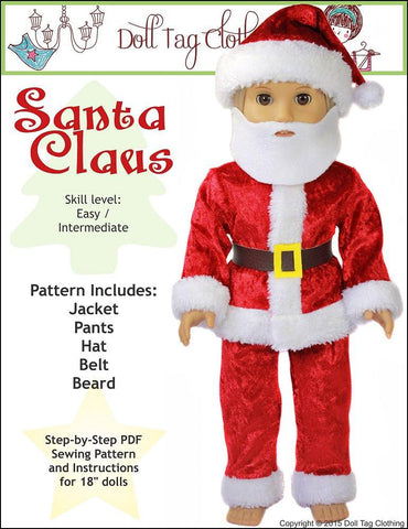 "Doll Tag Clothing 18 Inch Modern Santa Claus 18"" Doll Clothes Pattern Pixie Faire"